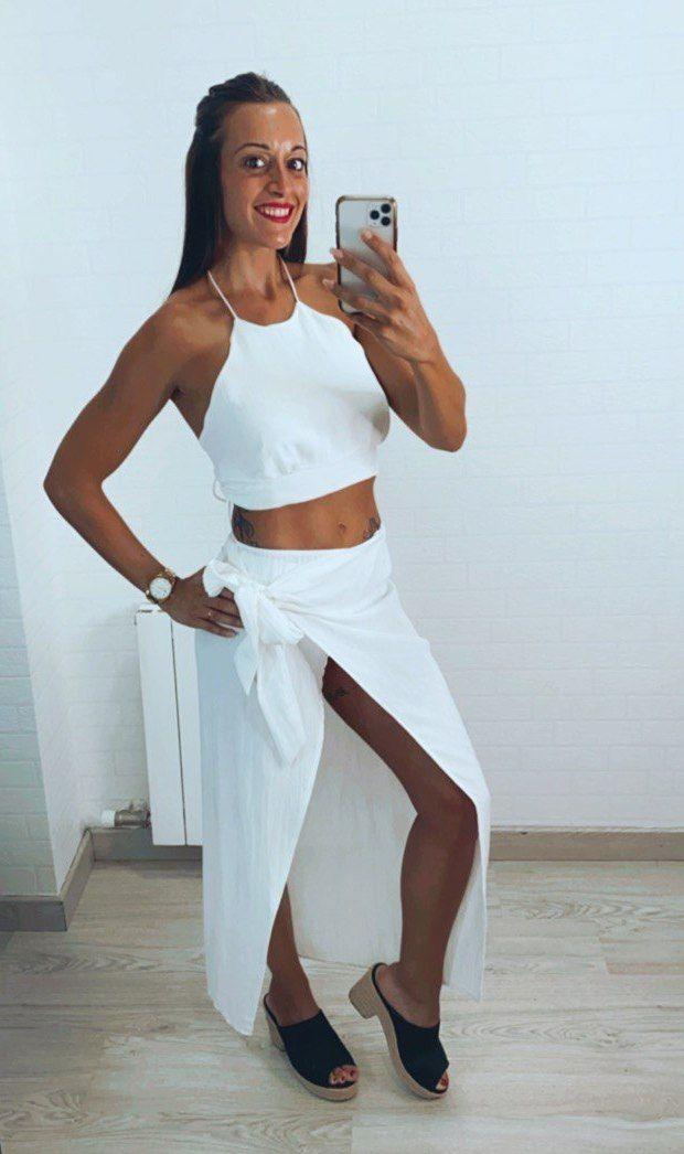 Falda midi lino