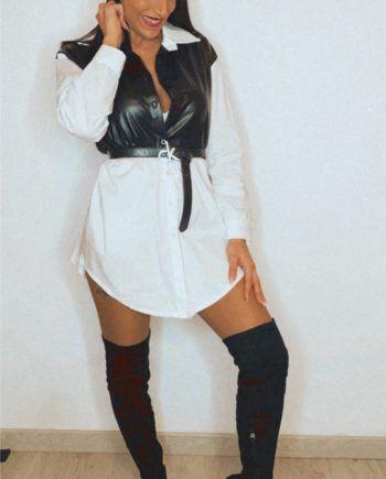 Vestido camisero con polipiel