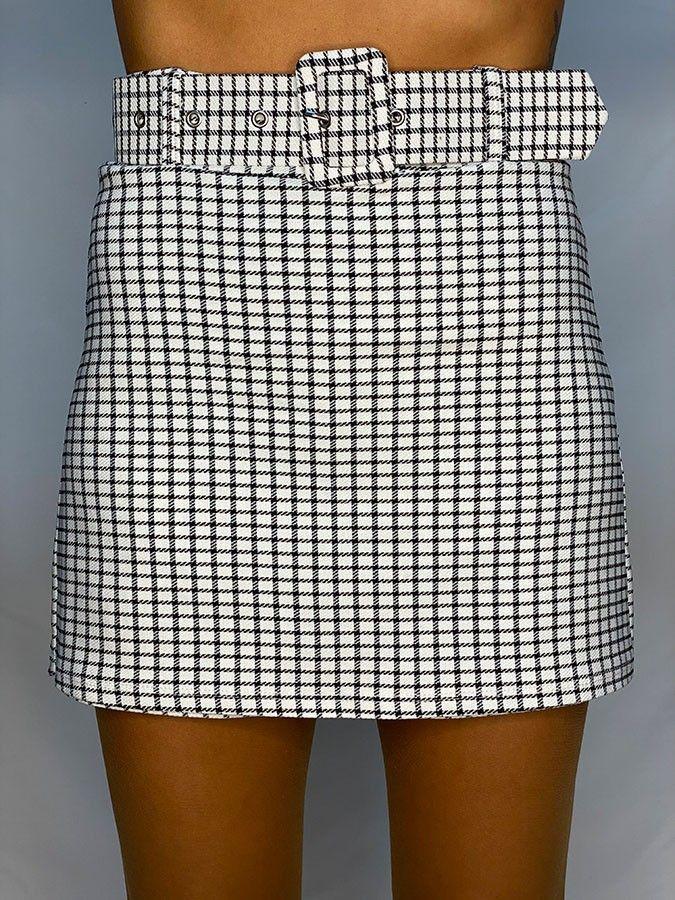 Falda pantalón cuadros con cinturón
