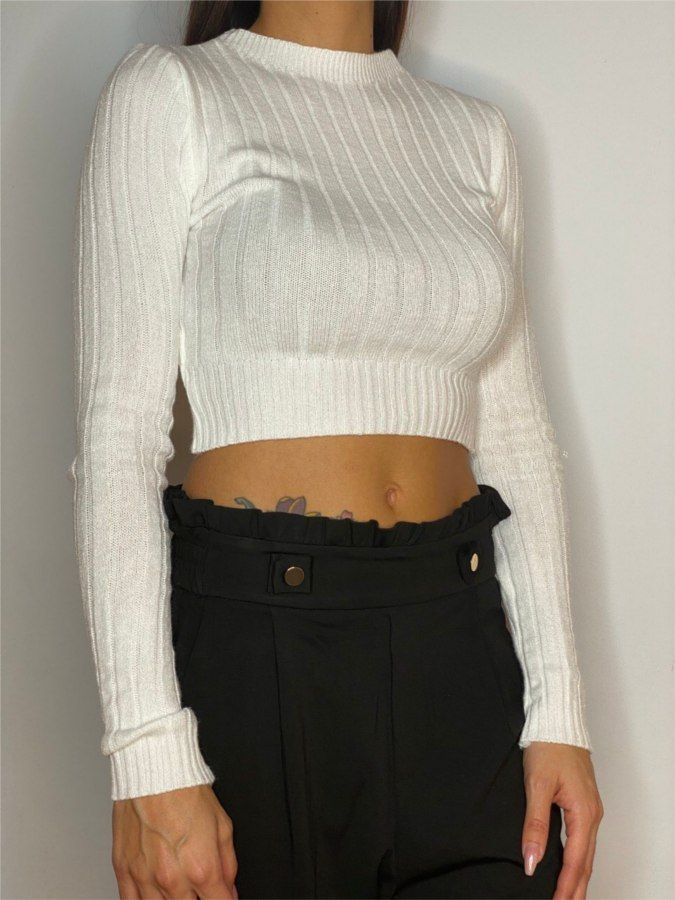 Jersey cropped canalé ancho