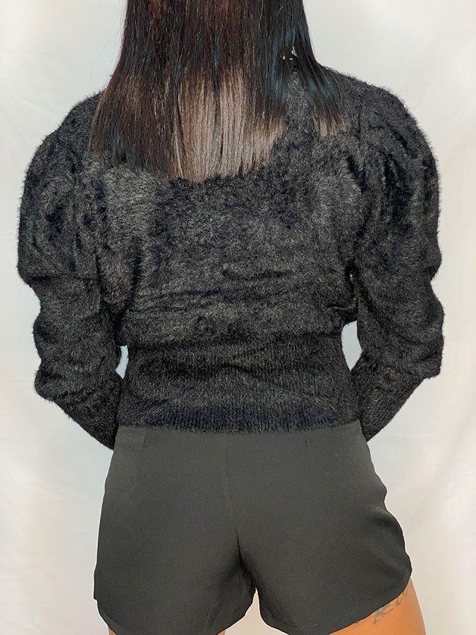 Jersey efecto pelo manga abullonada