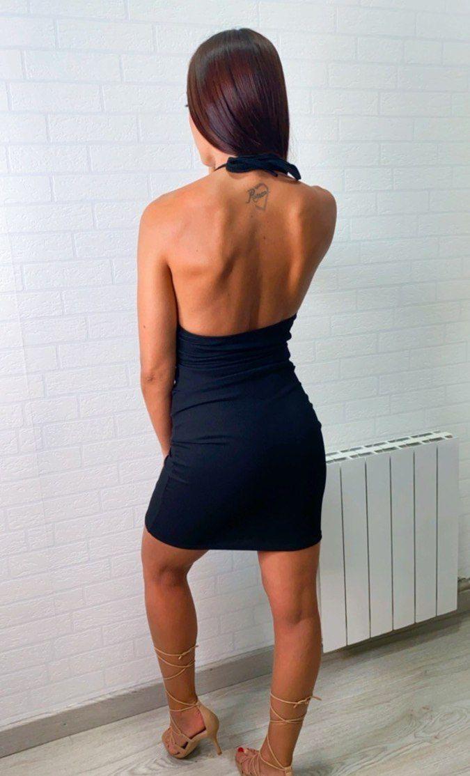 Vestido halter canalé cut-out