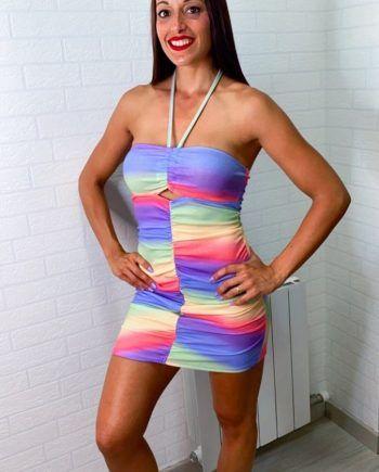 Vestido multicolor canalé